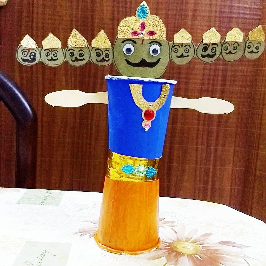 Made Raavan using paper cups..My son loved Because he