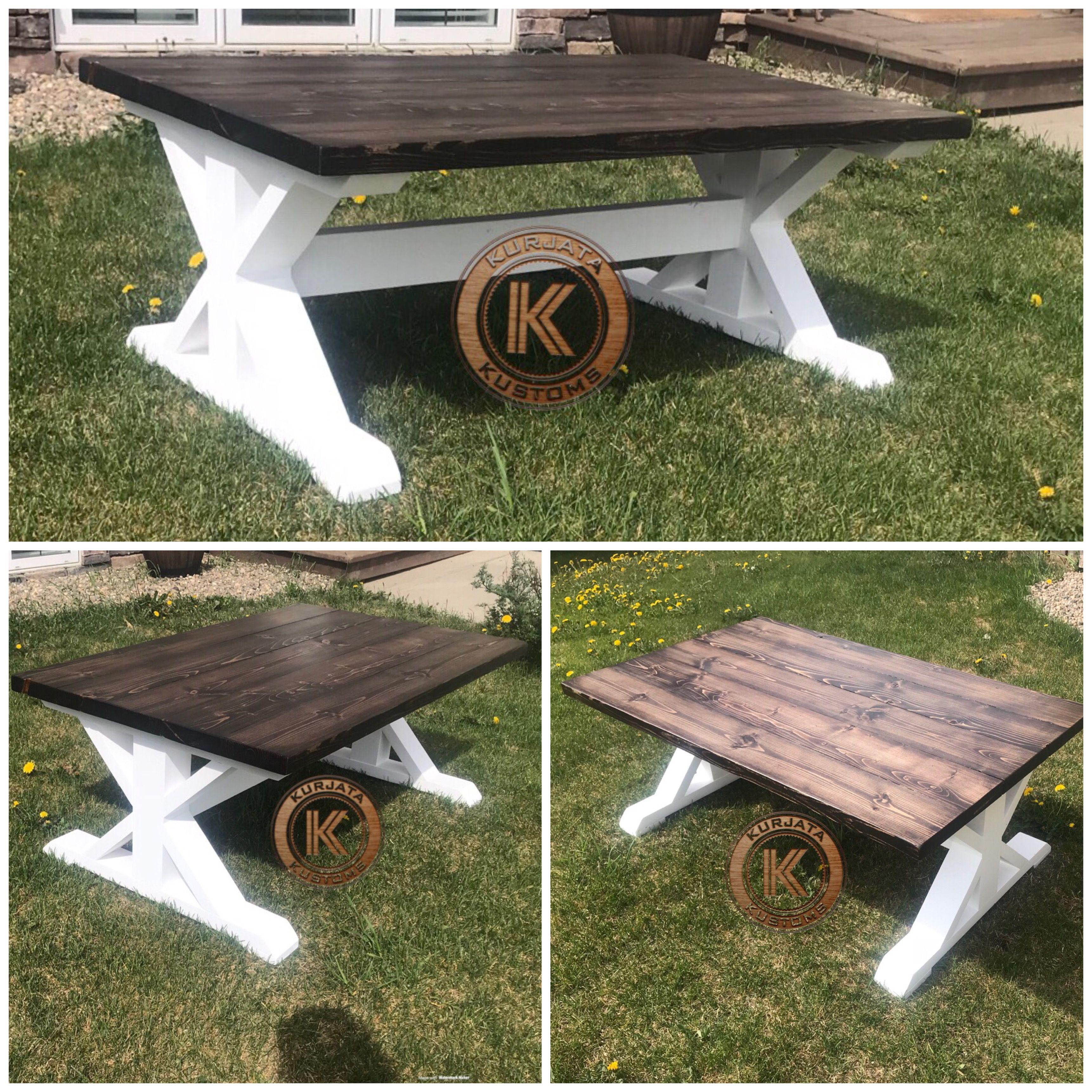 "- 48"" Trestle Coffee Table #kurjatakustoms #woodfurniture #diy"