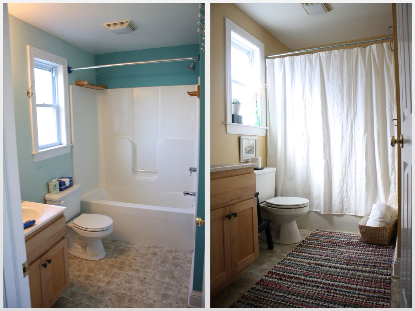 Love The Basket And Rug Very Airy Cheap Bathroom Makeover Bathrooms Remodel Small Bathroom Makeover