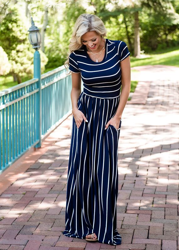1734bc70e70 Navy Striped Maxi Dress