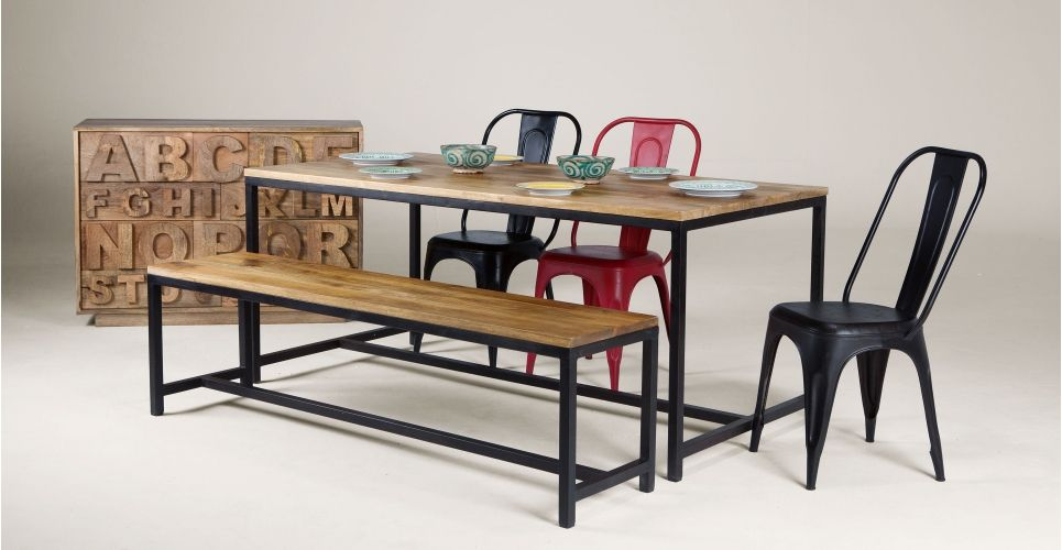 Lomond Dining Set, Natural Mango Wood and Black Metal | made.com ...