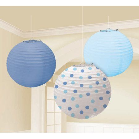 Paper Lanterns Walmart Extraordinary Blue Paper Lanterns Assorted 3Pk Multicolor  Paper Lanterns Decorating Inspiration