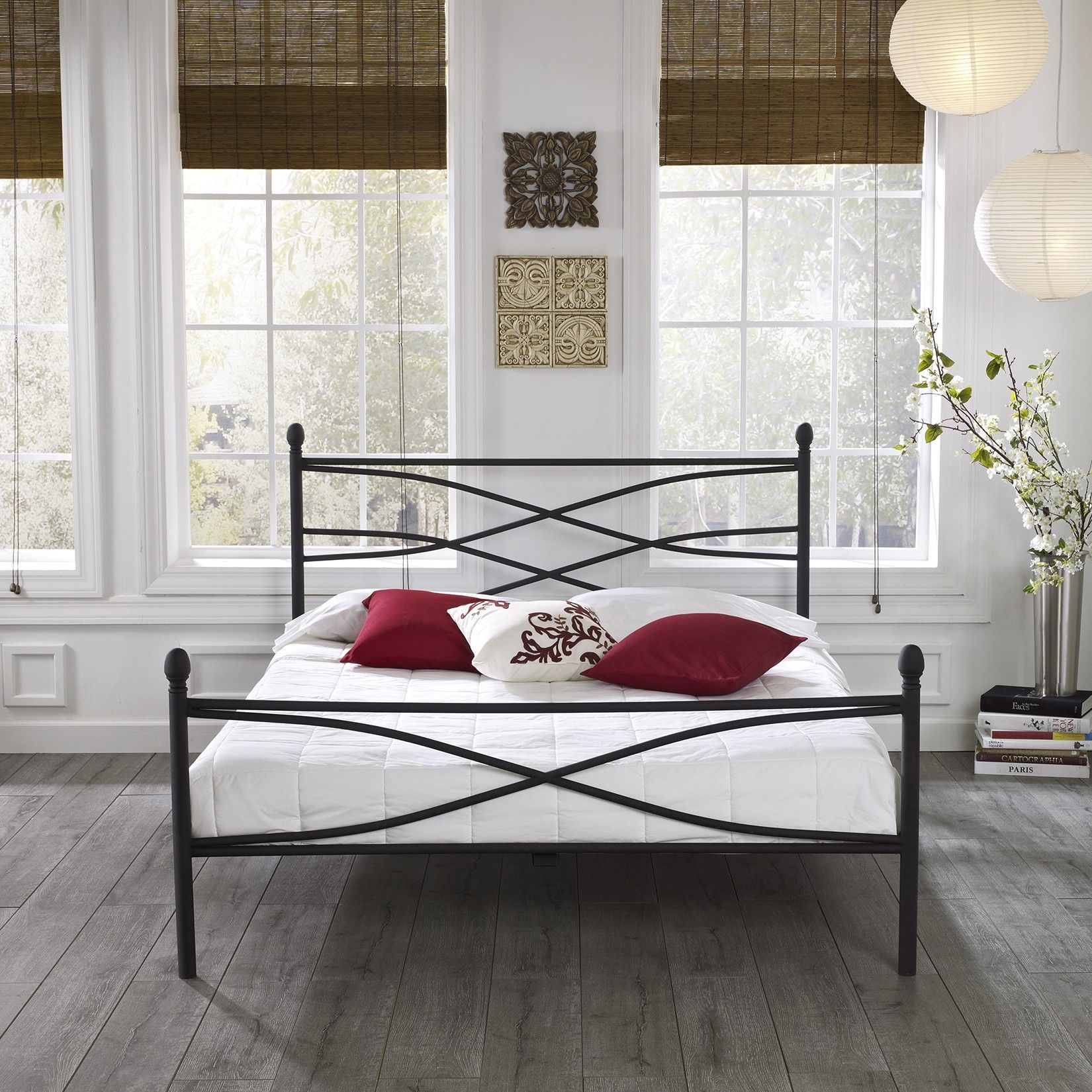 Black Coated Wrought Iron Leirvik Bed Frame Bedroom Magnificent ...