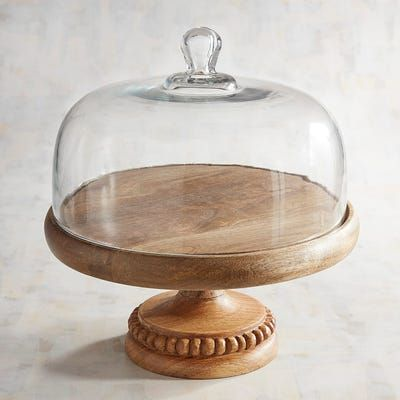 Wooden Cake Stand With Dome In 2020 Wooden Cake Stands Cake Stand Decor Cake Stand With Dome