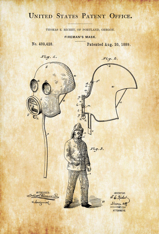 Fireman\'s Mask Patent – Patent Print, Wall Decor, Fireman Gift ...