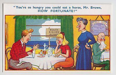 #Postcard - seaside #comic, riding school, b&b hotel landlady #horse meat, mr bro,  View more on the LINK: http://www.zeppy.io/product/gb/2/172420365626/