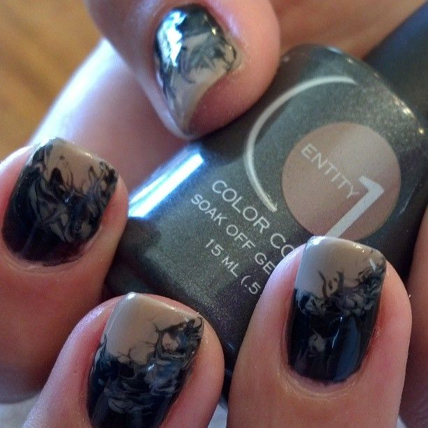 Beautiful Little Black Bottle And Cork Wedges Marbling Nail Art Done With Eocc Gel Enamel How To Do Nails Acrylic Nail Art Nails