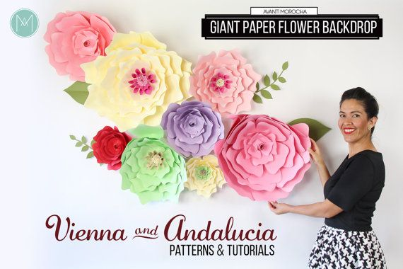 Giant Paper Flower Backdrop Patterns and von AvantiMorochaDIYs