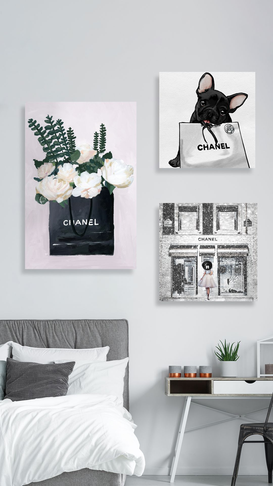 Bedroom With Chanel Inspired Wall Art Cute Room Decor Wall Decor Bedroom Aesthetic Room Decor