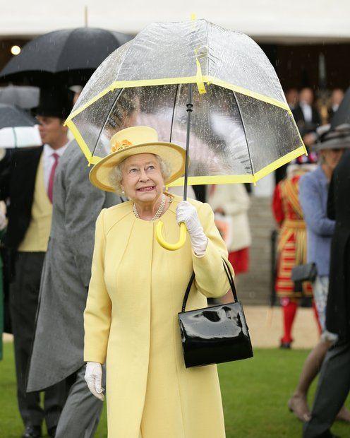 Stars im Regen: Königin Elizabeth trägt auf der Gartenparty am Buckingham Palace einen farblich passenden Schirm zum Outfit.
