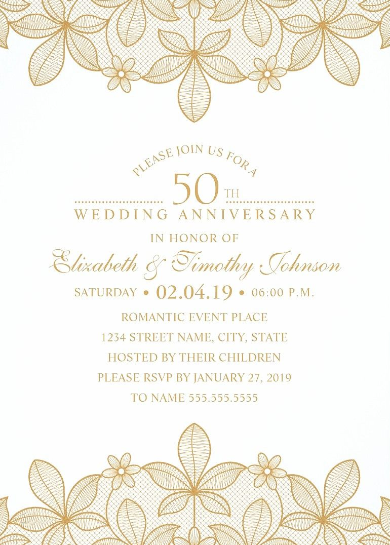 Golden Lace 50th Wedding Anniversary Invitations - Elegant Luxury ...