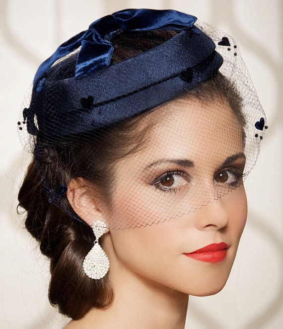 Navy Blue Wedding Hat Bridal Head Piece Tail Dotted Hearts Veil Vintage 1940 Pillbox Birdcage One Of A Kind Charlotte
