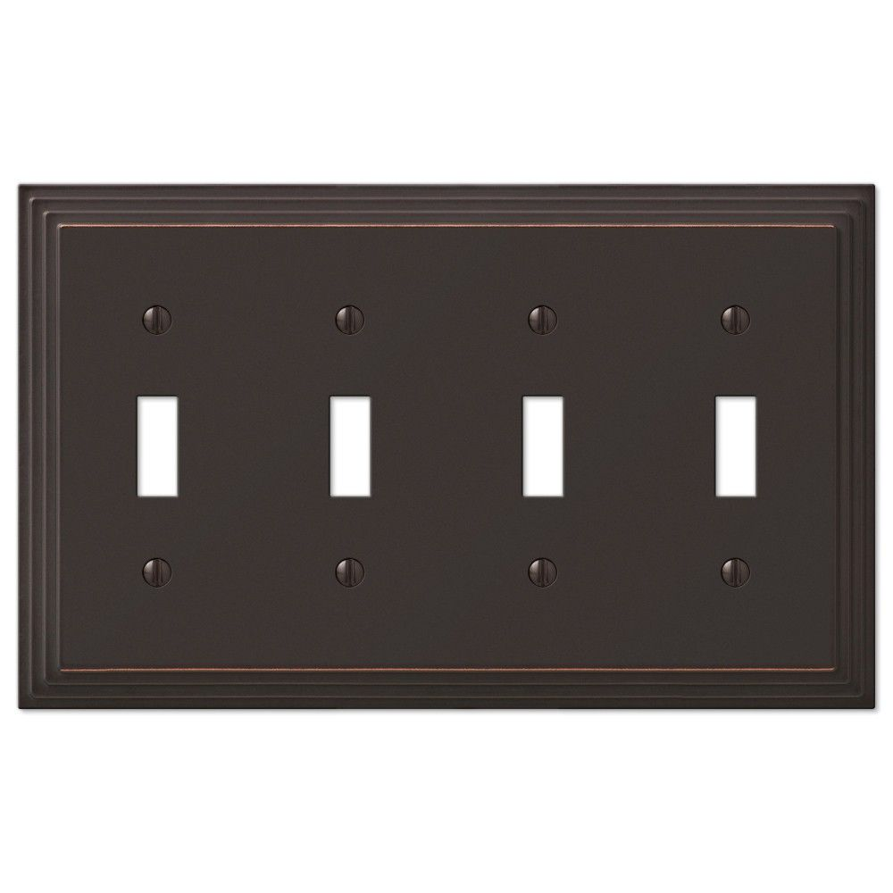 Lighting Wall Plates Amerelle Steps 84T4Vb 4 Toggle Wall Plate  Aged Bronze