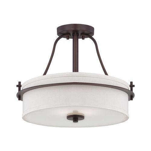Semi flushmount light with white shades in venetian bronze finish at destination lighting