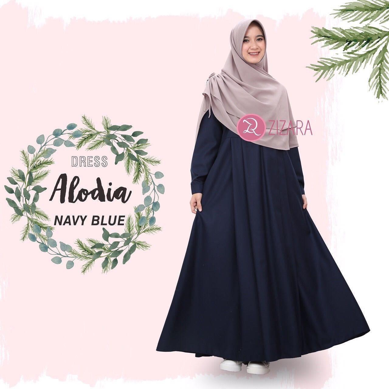 Gamis Zizara Alodia Dress Navy Blue - baju muslim wanita baju