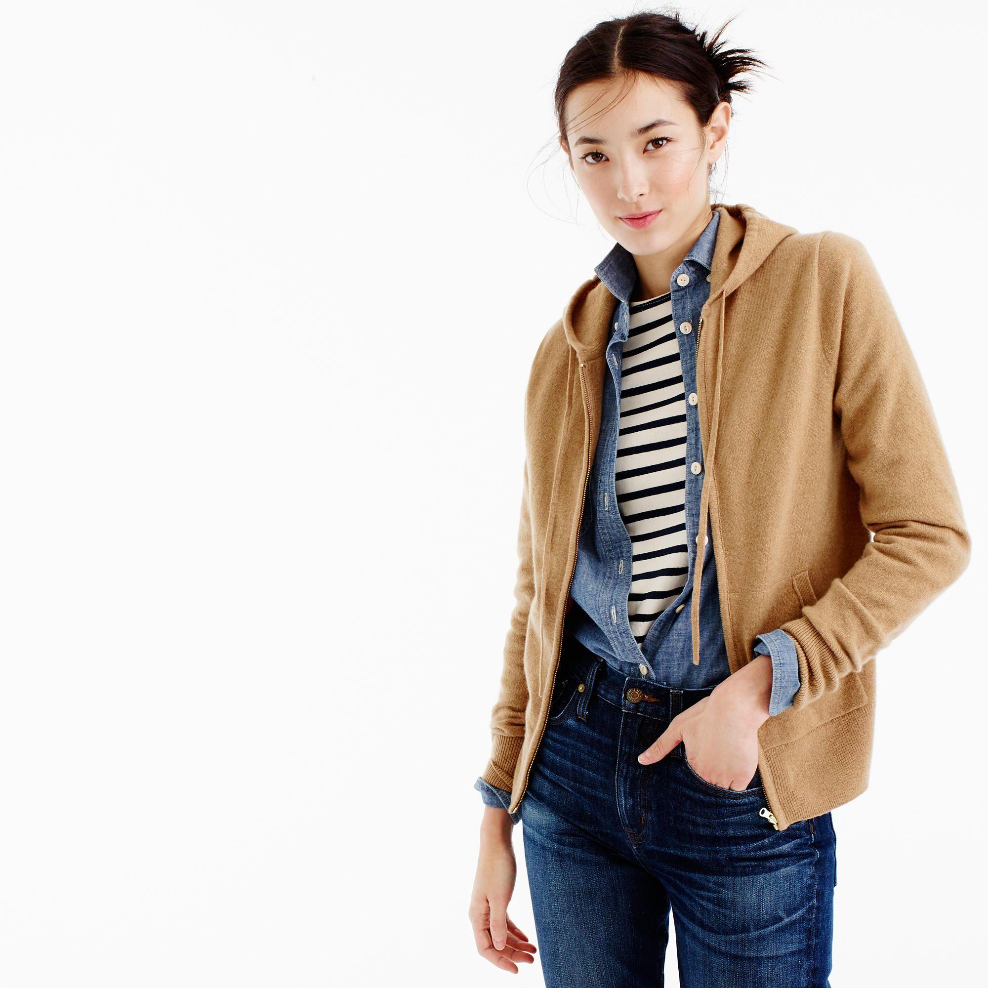 J.Crew Womens Italian Cashmere Zip-Front Hoodie (Size XXS ...