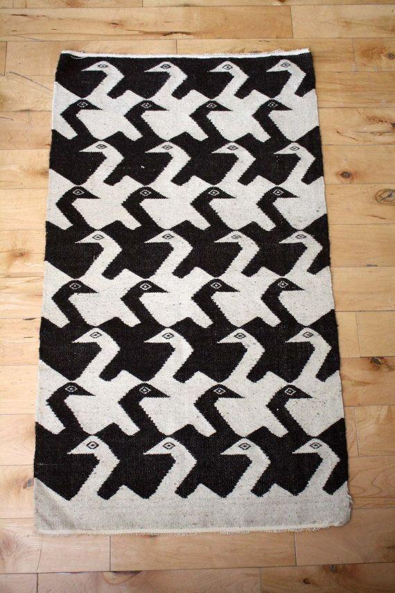 Vintage. Mc Escher Style. Geometric Bird. Navajo. Aztec. Natural Wool Rug.  Wall Hanging. Southwestern Decor