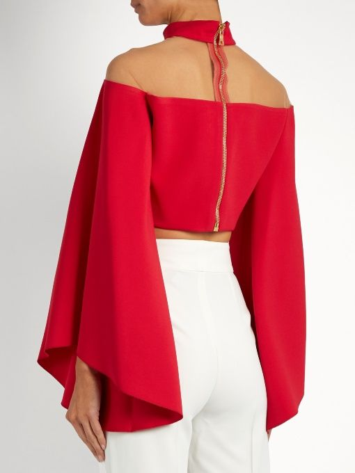 Balmain High-neck tulle-insert cropped top  413b96f99