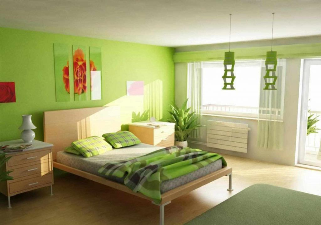 charming bedroom design ideas with light gren asian | new two color combination for bedroom walls | Green ...
