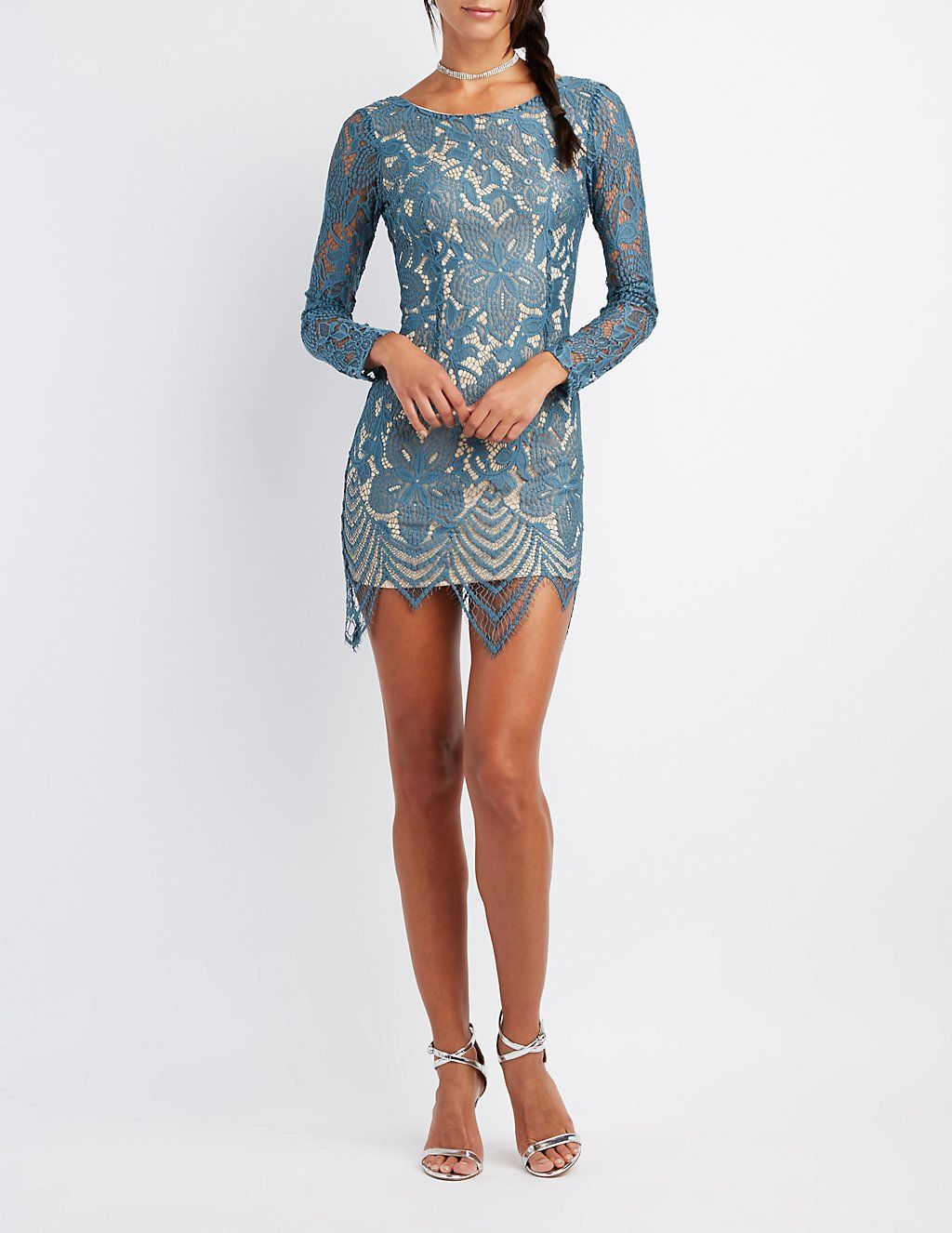 Eyelash Lace Bodycon Dress Charlotte Russe Dressy Outfits Long Sleeve Cocktail Dress Lace Bodycon Dress [ 1326 x 1024 Pixel ]
