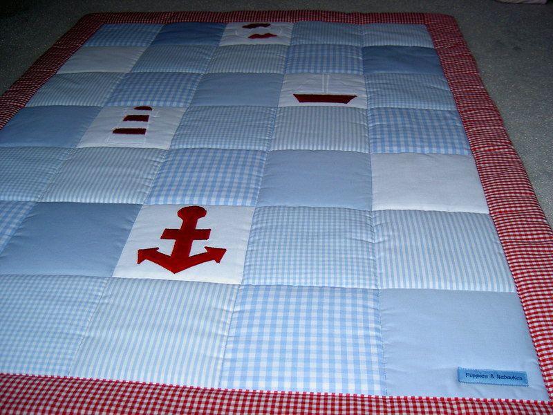 Babyzimmer maritim ~ Patchwork babyquilt krabbeldecke maritim von püppies & rabauken