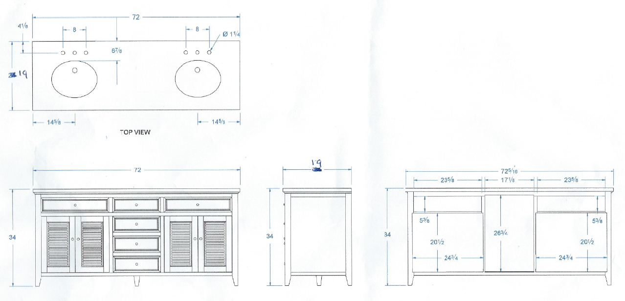 This Is An Excellent Example Of A Bathroom Vanity Drawing It Shows Virtually Every Detail That We Would Need Custom Cabinets Built In Wardrobe Joinery Details