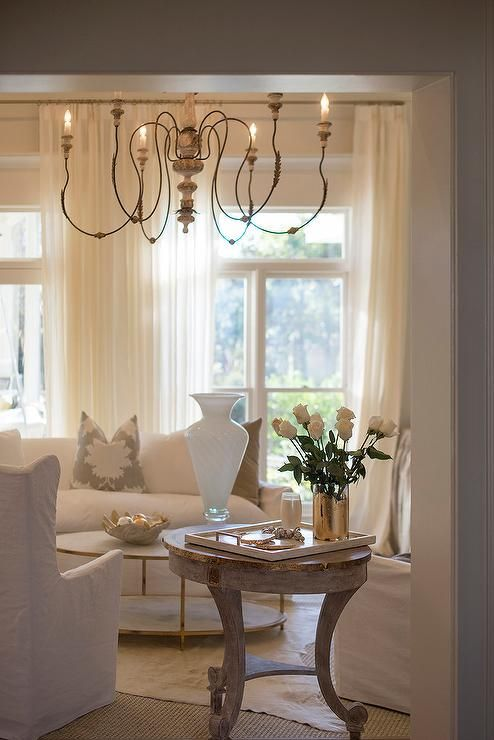 French Living Room Features A Large French Candle