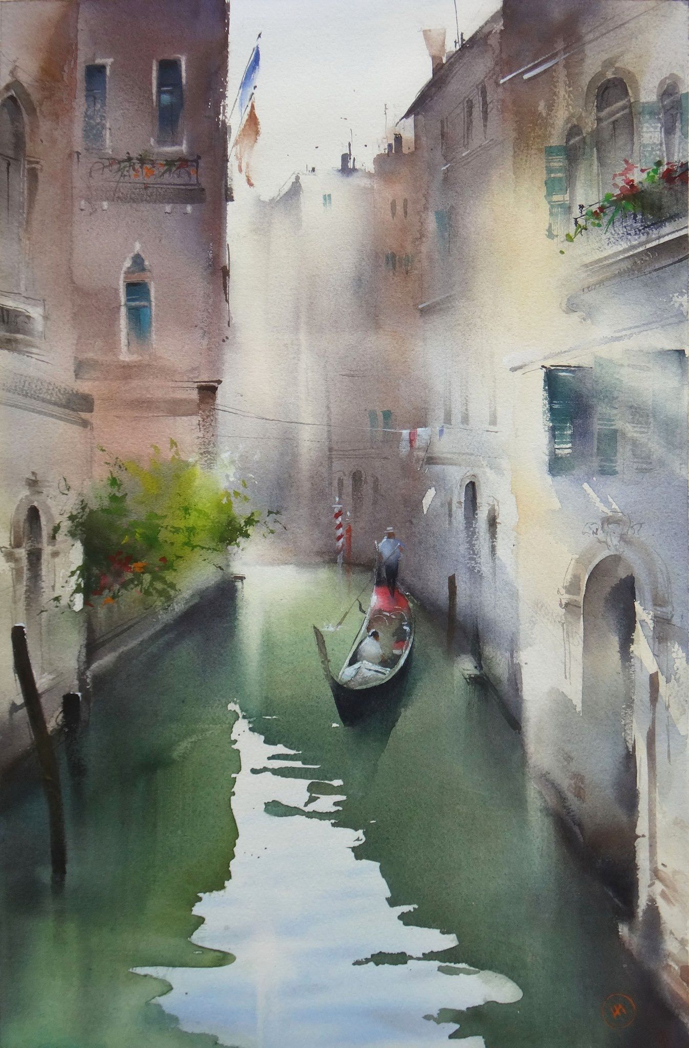 Venice Canal W Gondala Peinture Paysage Plage Aquarelle