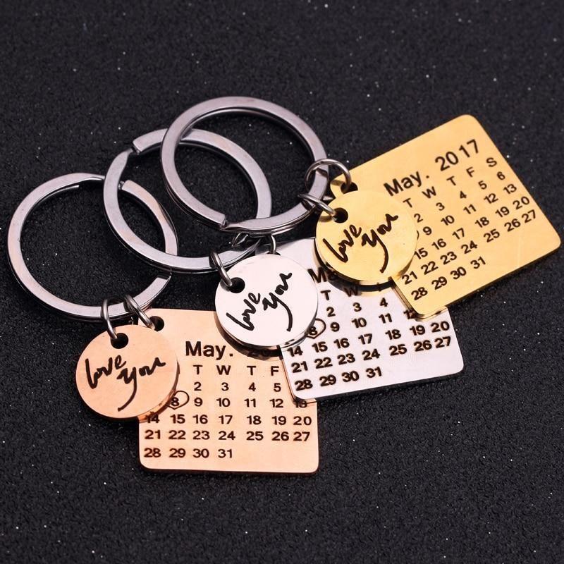 DIY Stainless Steel Personalized Custom Name Engraved Date Keychain Keyrings