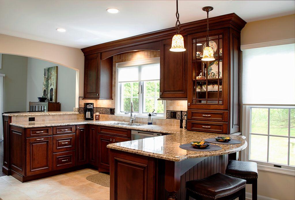 Wood Mode Brookhaven Ii Custom Cherry Cabinets Matte Brown With Black Glaze Custom Kitchens Kitchen Decor Wood Mode