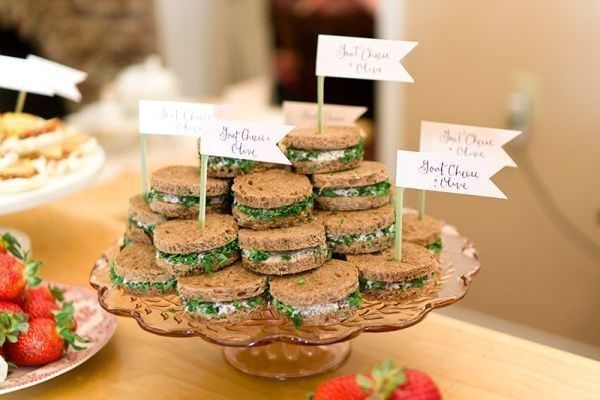 how cute are these tea sandwiches for a bridal shower tea