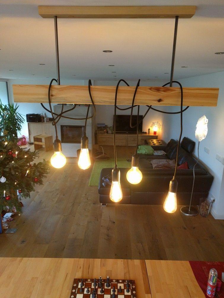 esstisch lampe aus heimischen holz mit edison led birnen. Black Bedroom Furniture Sets. Home Design Ideas