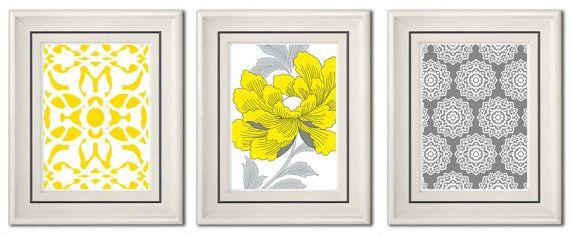 Set of Three Modern Gray/Yellow Wall Art 8x11 Print by catsbeads ...