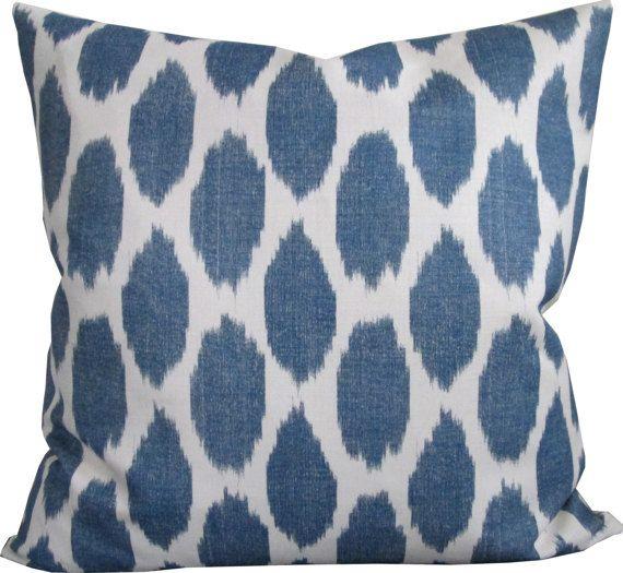 Indigo Adras Ikat Cushion   Pillows