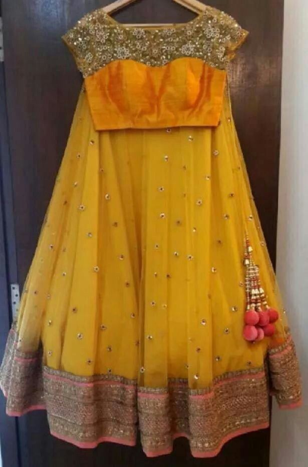 simple yellow orange wedding lehanga or can be wear in normal functions.