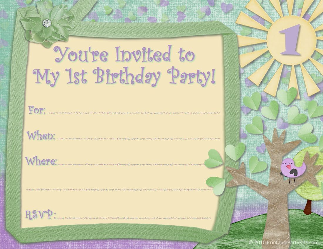Free Printable Party Invitations Invite Design For A 1st Birthday