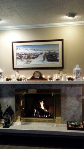 Winter mantle decor.