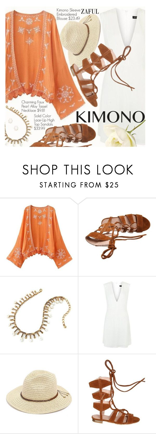 Kimono Style by pokadoll on Polyvore featuring New Look, Kendra Scott and San Diego Hat Co.