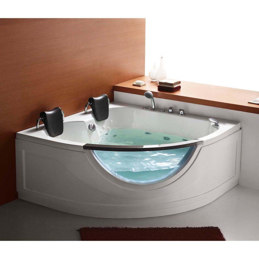 bathroom white fiberglass whirlpool tub with double black ...