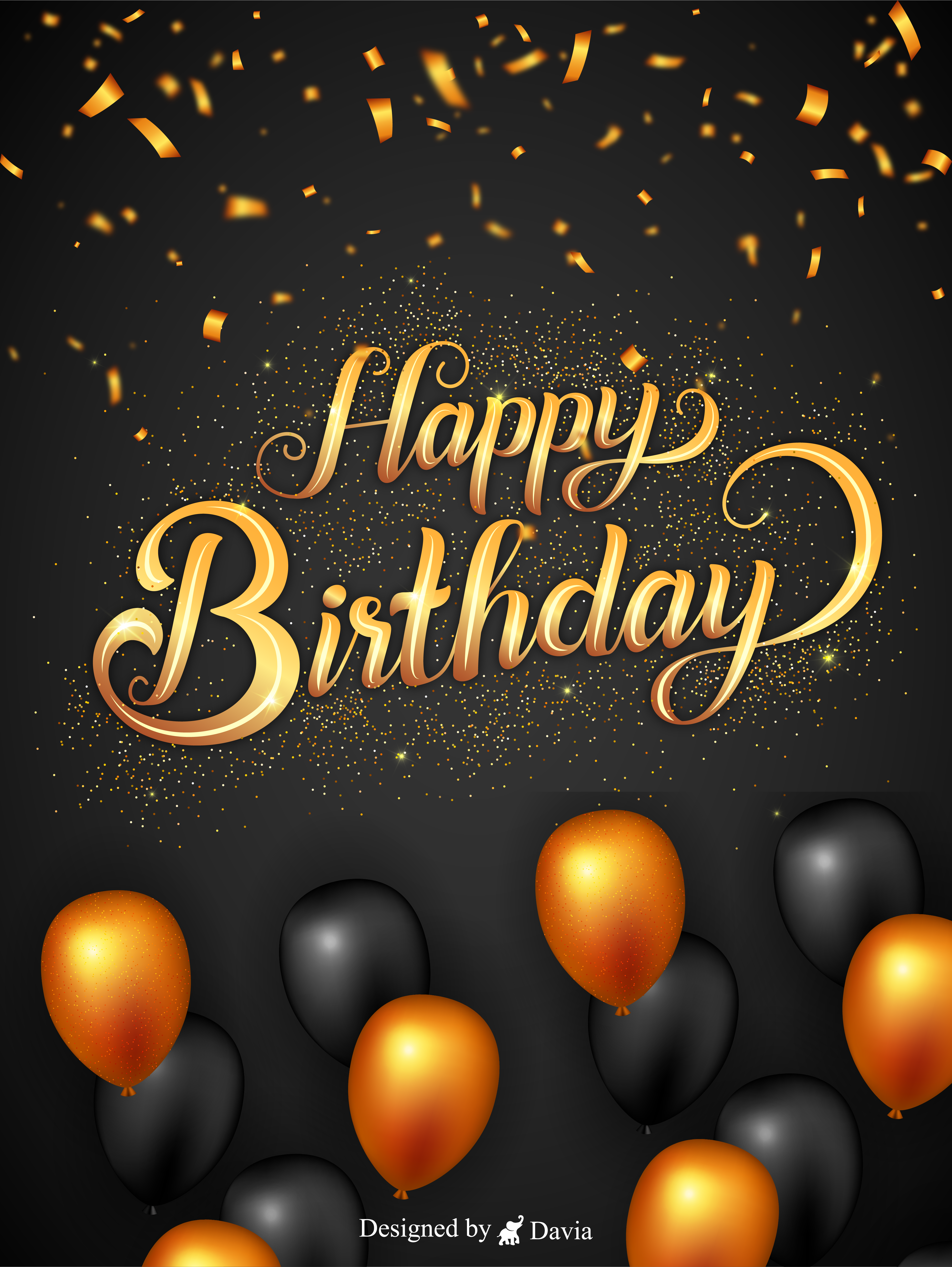 Gold Black Birthday Balloons Happy Birthday To Him Cards Birthday Greeting Cards By Davia In 2021 Happy Birthday Man Happy Birthday To Him Birthday Greeting Cards