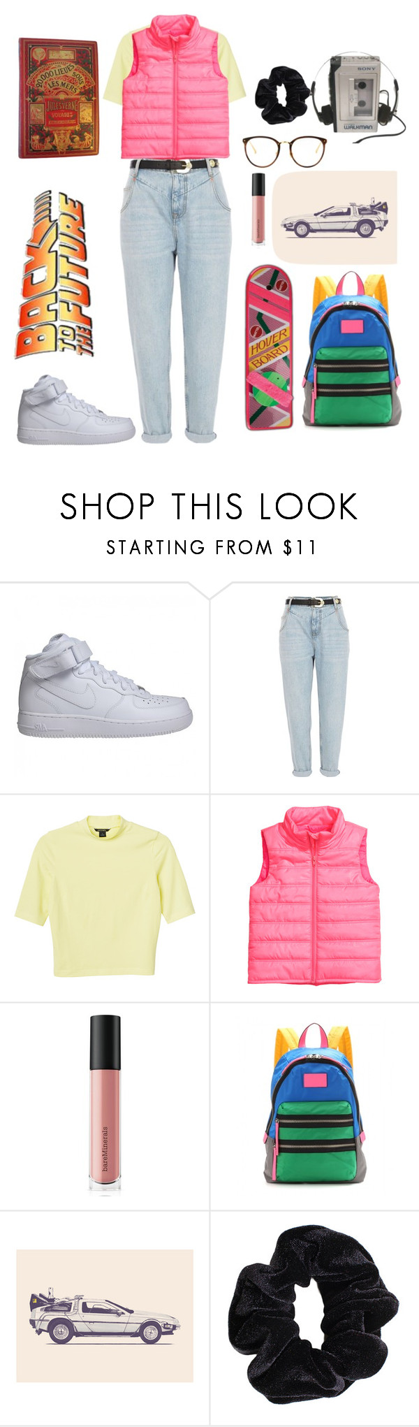 """Back to the future part I"" by aby-ocampo ❤ liked on Polyvore featuring NIKE, River Island, Monki, Bare Escentuals, Marc by Marc Jacobs, American Apparel and Sony"