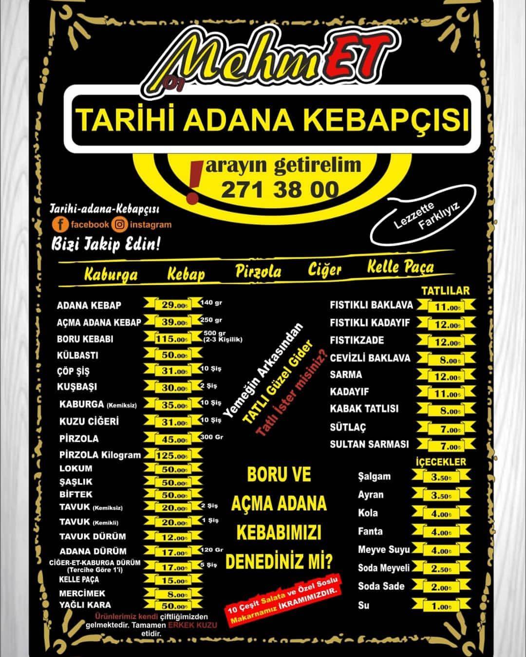 Tarihi Adana Kebapcisi Mehmet Kayseri Ramazan 2020 Iftar Menu Ve Fiyatlar Corbalar Kelle Paca 15 Tl Mercimek 8 Tl Kebap Et Urunleri Adana K 2020 Iftar Kebap Tarih
