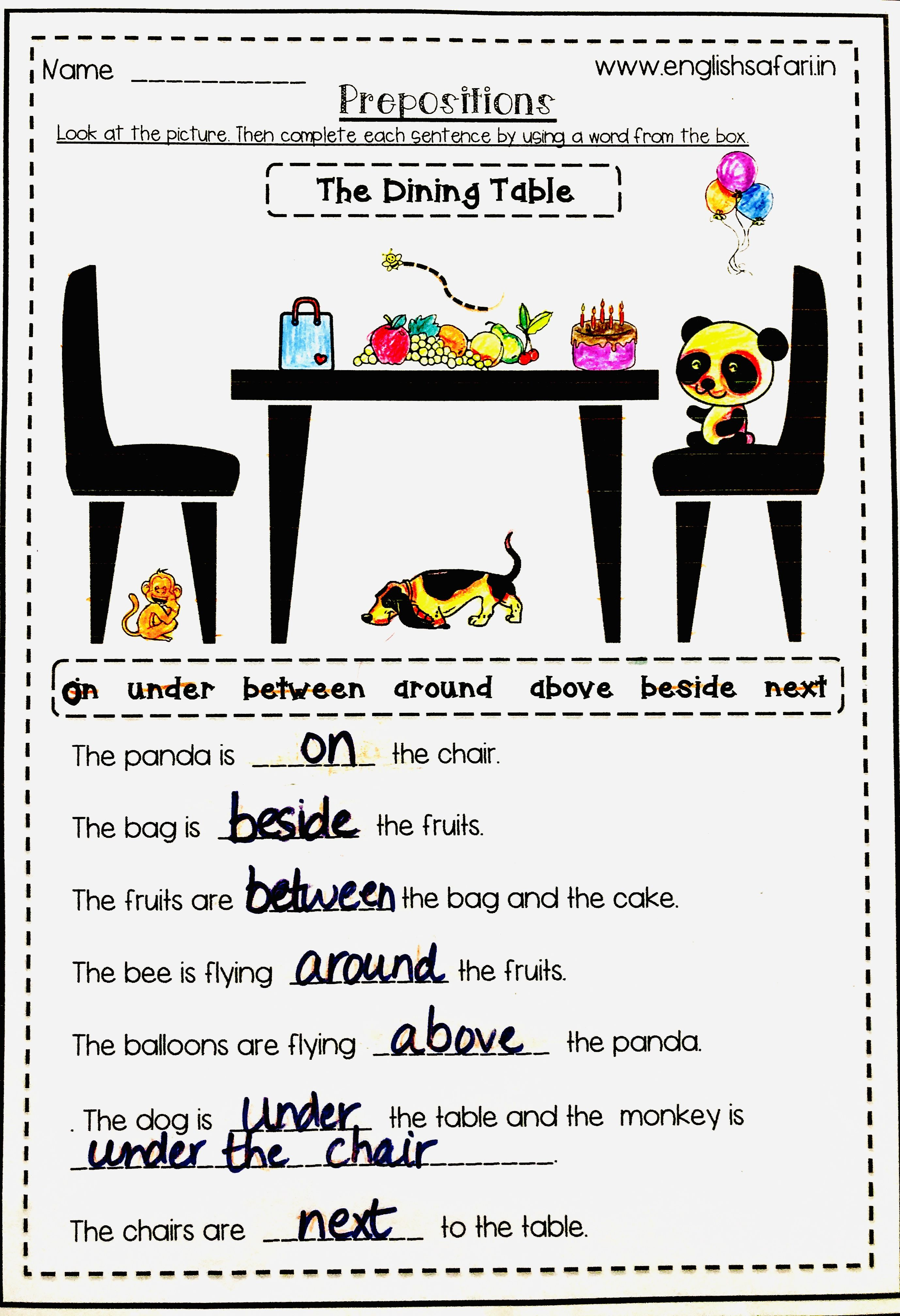 Preposition Worksheets 2nd Grade (With images