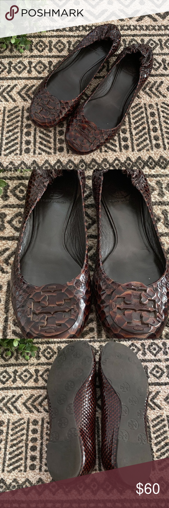 31e86819f263 Tory Burch Reva Snakeskin Brown Flats Size 8 Tory Burch Reva Snakeskin  Brown Flats. Condition