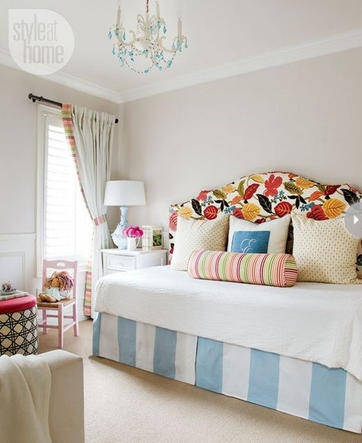 Create A Day Bed With Twin Mattress Set And An Upholstered Headboard Love The Mix Of Pattern Guest Bedroom I Don T Like This But Idea