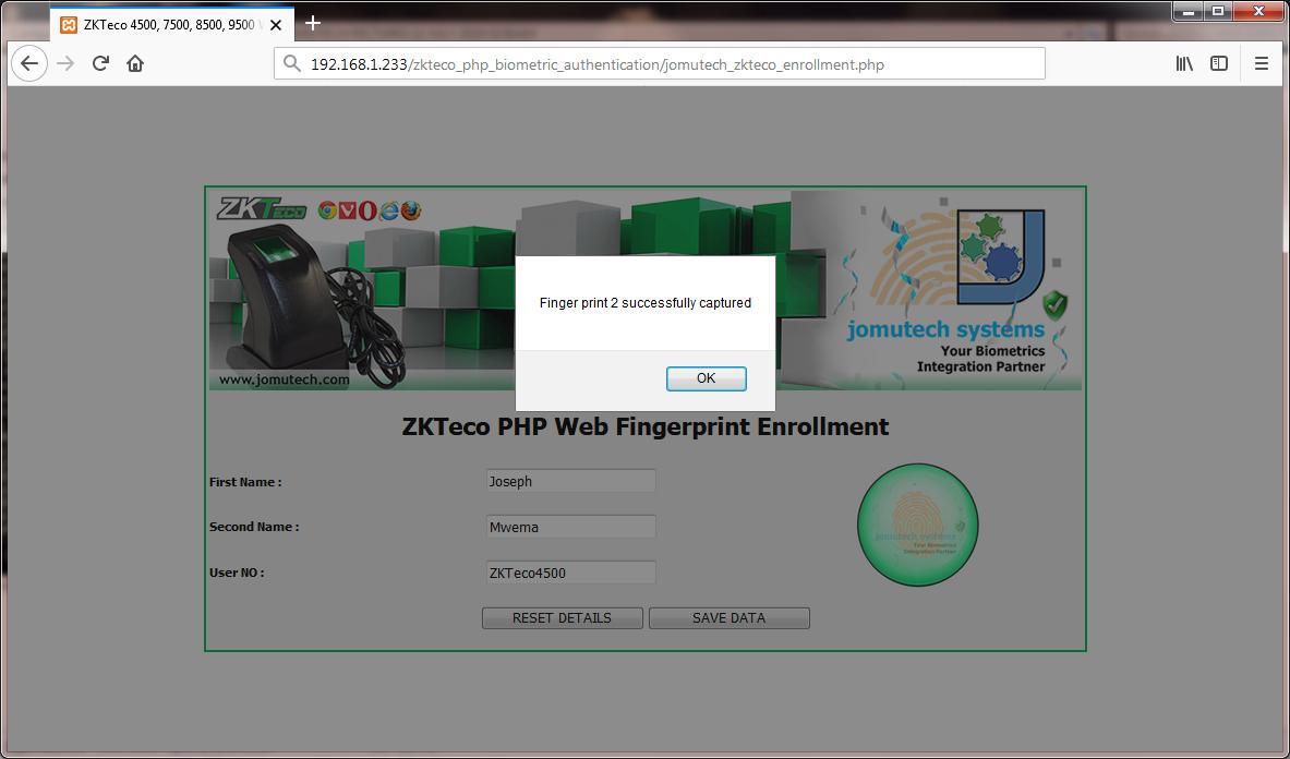 Fingerprint 2 Enrolled using ZKTeco 4500 Fingerprint Scanner