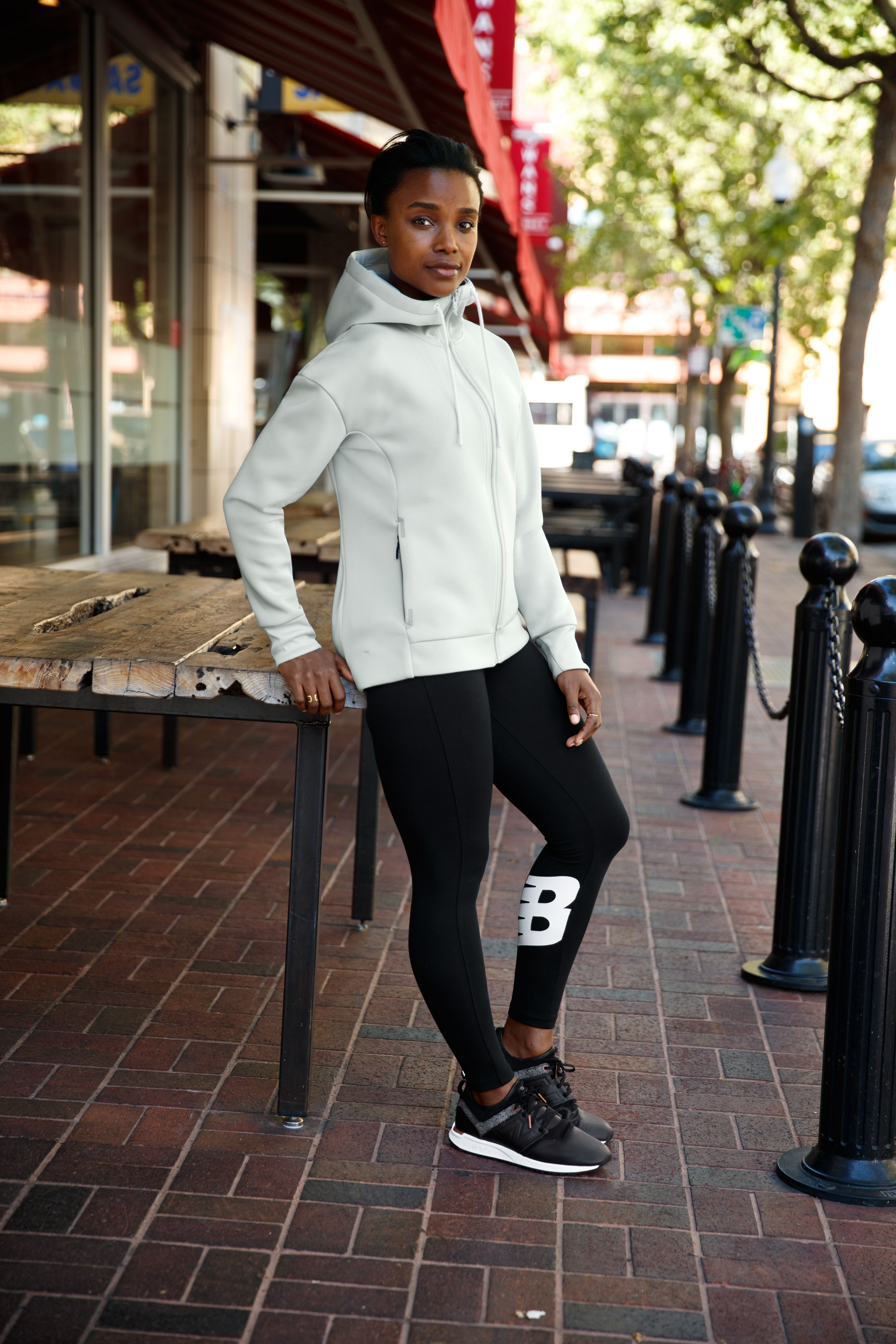 3a70b350db7e2 Athleisure vibes from the week into the weekend. Featuring the 247 Sport  Full Zip Hoodie, NB Athletics Leggings, paired with the 247 NB Grey shoe.