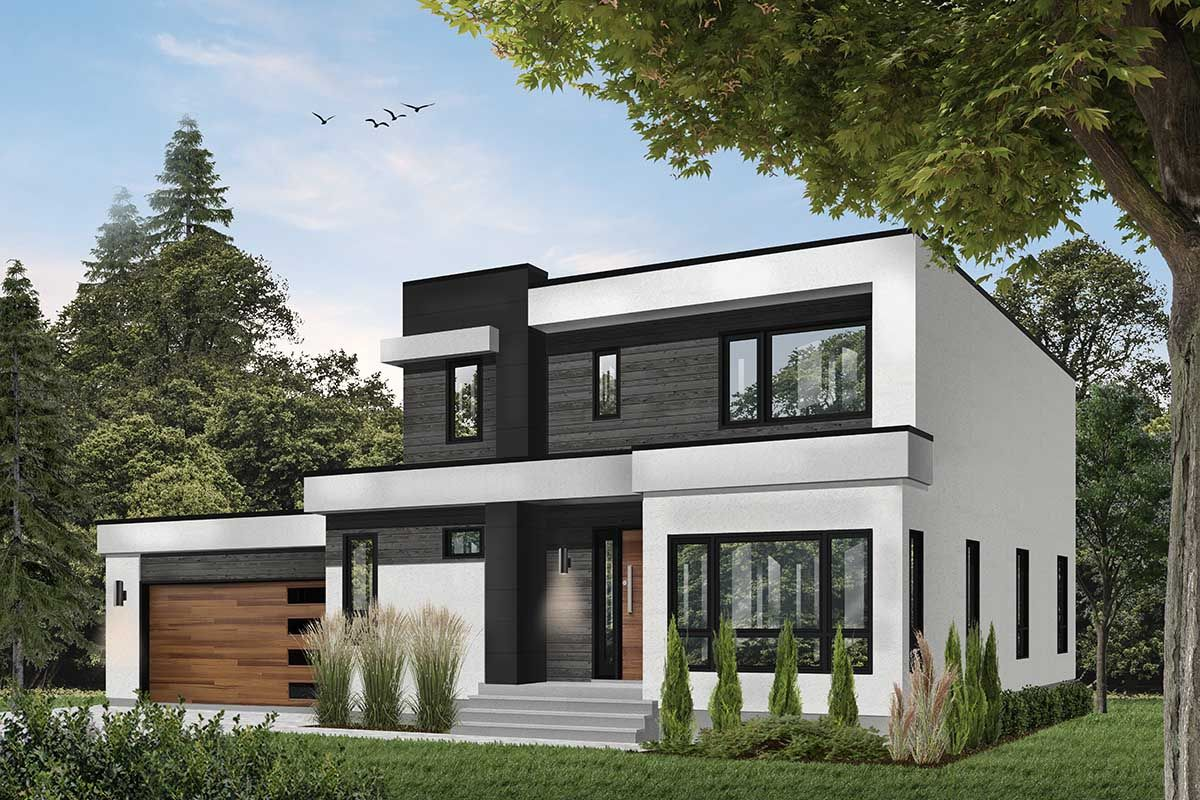 Plan 22487dr Modern House Plan With Master Up With Outdoor Balcony In 2021 Modern Style House Plans Contemporary House Plans Basement House Plans