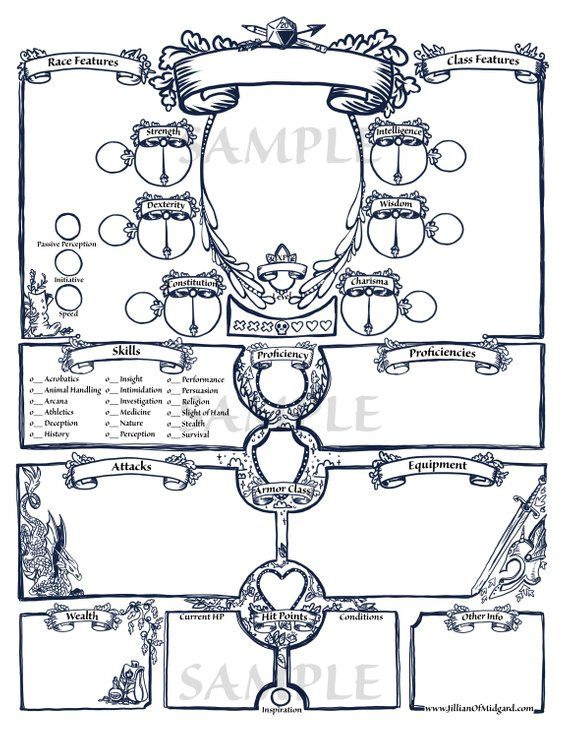 graphic relating to Printable Characters identified as PDF printable Dungeons Dragons 5th ed Individuality Sheet