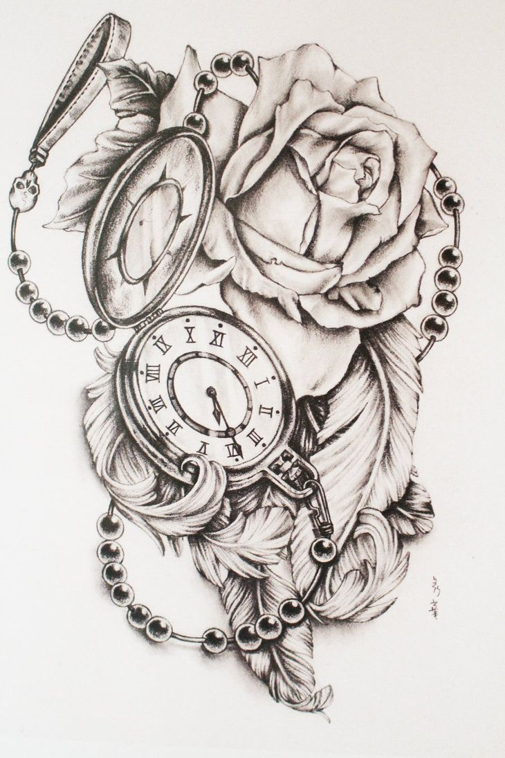 Rose Clock Tattoo Designs Drawing: Feathers And Pocket Watch By Di-polar …